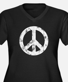 Distressed Peace Sign Women's Plus Size V-Neck Dar