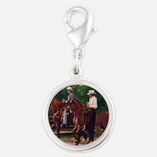 Paso Fino Horses Silver Round Charm