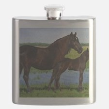Percheron Mare And Foal Draft Horse Flask