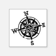 "Large compass Square Sticker 3"" x 3"""