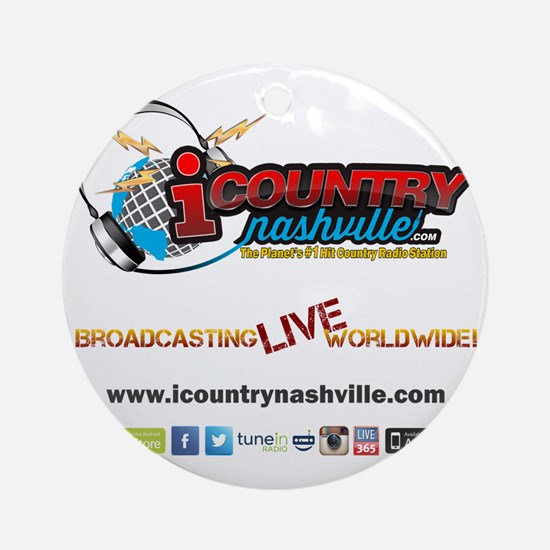 iCountryNashville.com Listen Live! Round Ornament