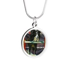 Border Collie Agility Christ Silver Round Necklace