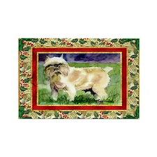Brussels Griffon Dog Christmas Rectangle Magnet