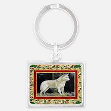 Canaan Dog Christmas Landscape Keychain