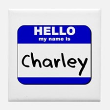 hello my name is charley  Tile Coaster