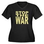 Stop The War Women's Plus Size V-Neck Dark T-Shirt