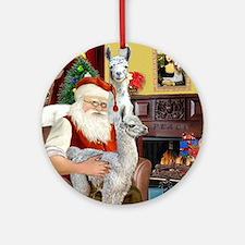 Santa with his Mama Llama  Baby Round Ornament