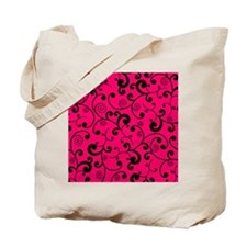 Elegant Lime Hot Pink and Black Scroll Pa Tote Bag