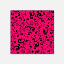 """Elegant Lime Hot Pink and B Square Sticker 3"""" x 3"""""""