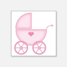 """Pink Baby Carriage Square Sticker 3"""" x 3"""""""