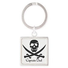 Captain Dad Jolly Roger Pirate Cro Square Keychain