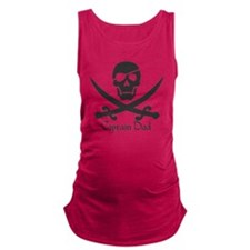 Captain Dad Jolly Roger Pirate  Maternity Tank Top