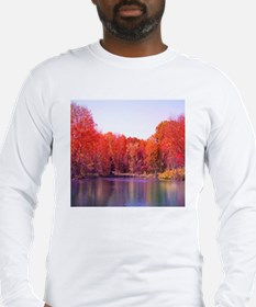 Autumn Pond with Rich Red Tree Long Sleeve T-Shirt