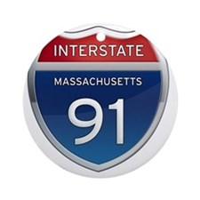 Massachusetts Interstate 91 Round Ornament