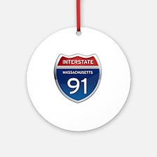 Massachusetts Interstate 91 Round Ornament