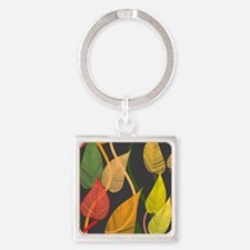 Autumn Leaves Square Keychain