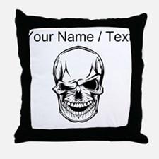 Custom Winking Skull Throw Pillow