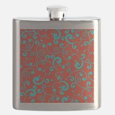 Elegant Orange and Aqua Blue Scroll Pattern Flask