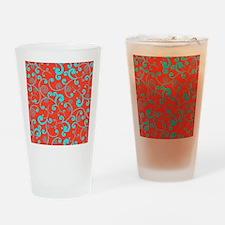 Elegant Orange and Aqua Blue Scroll Drinking Glass