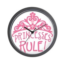 Princesses Rule Wall Clock