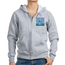 Klimts Kats in Blue Zip Hoodie