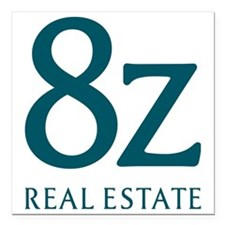 "8z Real Estate Logo Square Car Magnet 3"" x 3"""