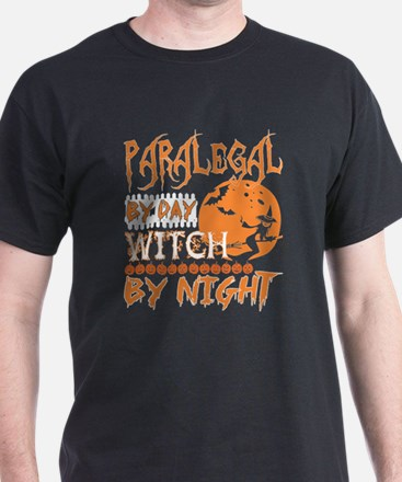 Paralegal By Day Witch By Night Halloween T-Shirt