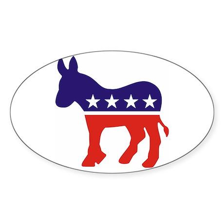 Democrat Donkey v4 Oval Sticker