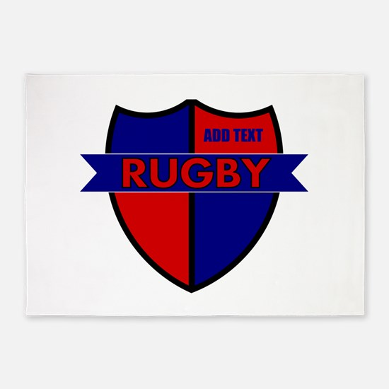 Rugby Shield Blue Red 5'x7'Area Rug