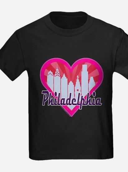 Philly Skyline Sunburst Heart T-Shirt