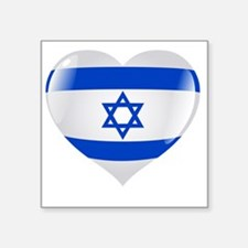 "Heart for Israel Square Sticker 3"" x 3"""