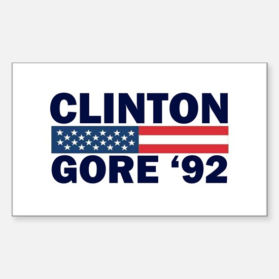Clinton - Gore 92 Rectangle Decal