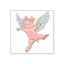 Flying Pig Square Sticker 3&Quot; X 3&Quot;