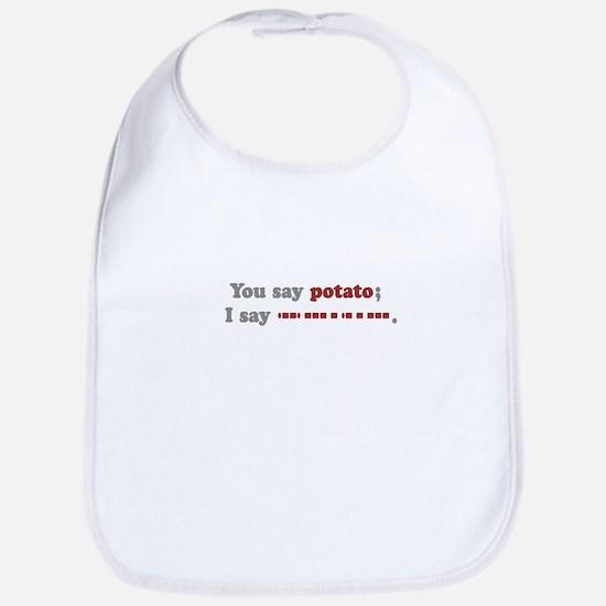 Morse Code Potato Bib