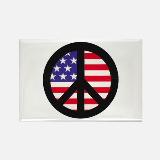 Peace Sign - Flag Rectangle Magnet