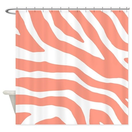 Coral White Zebra Pattern Shower Curtain By DreamingMindCards