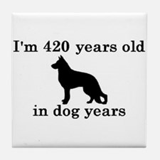 60 birthday dog years german shepherd black 2 Tile