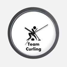 Team Curling Black Wall Clock