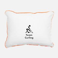 Team Curling Black Rectangular Canvas Pillow