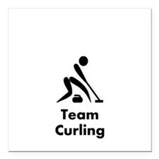 """Team Curling Black Square Car Magnet 3"""" x 3"""""""