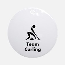 Team Curling Black Ornament (Round)