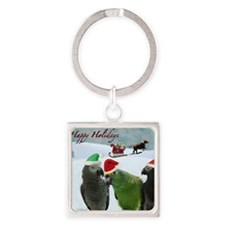 Happy Holidays Square Keychain