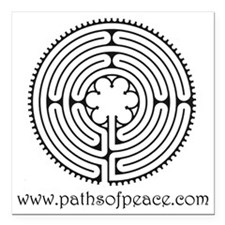 "Paths of Peace Chartres  Square Car Magnet 3"" x 3"""