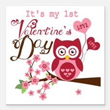 "1st Valentine's Day Owl Square Car Magnet 3"" x 3"""