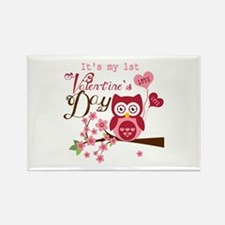 1st Valentine's Day Owl Rectangle Magnet
