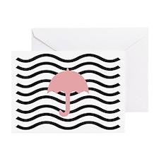 Abstract Cute Pink Umbrella Greeting Cards (Pk Of
