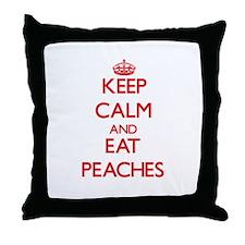Keep calm and eat Peaches Throw Pillow