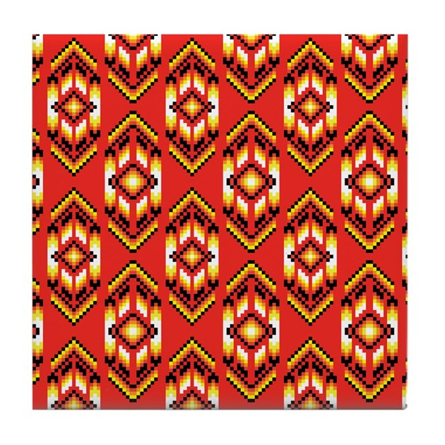 Native american design fire tile coaster by admin cp1484747 for Native american tile designs