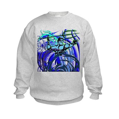 Poseidon Ocean Flames Kids Sweatshirt