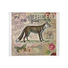Fox Vintage Animal Collage Throw Blanket